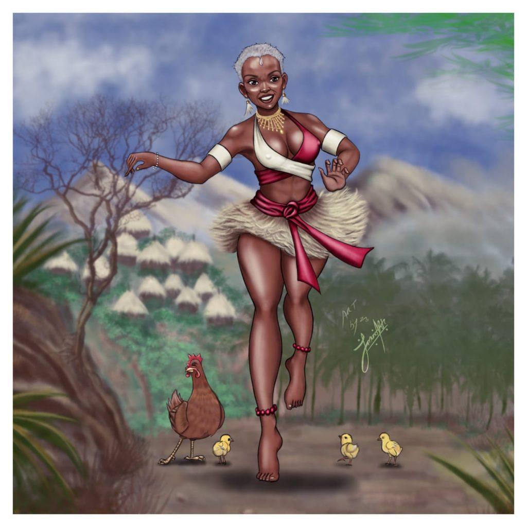 An artist's illustration of Mekatilili wa Menza
