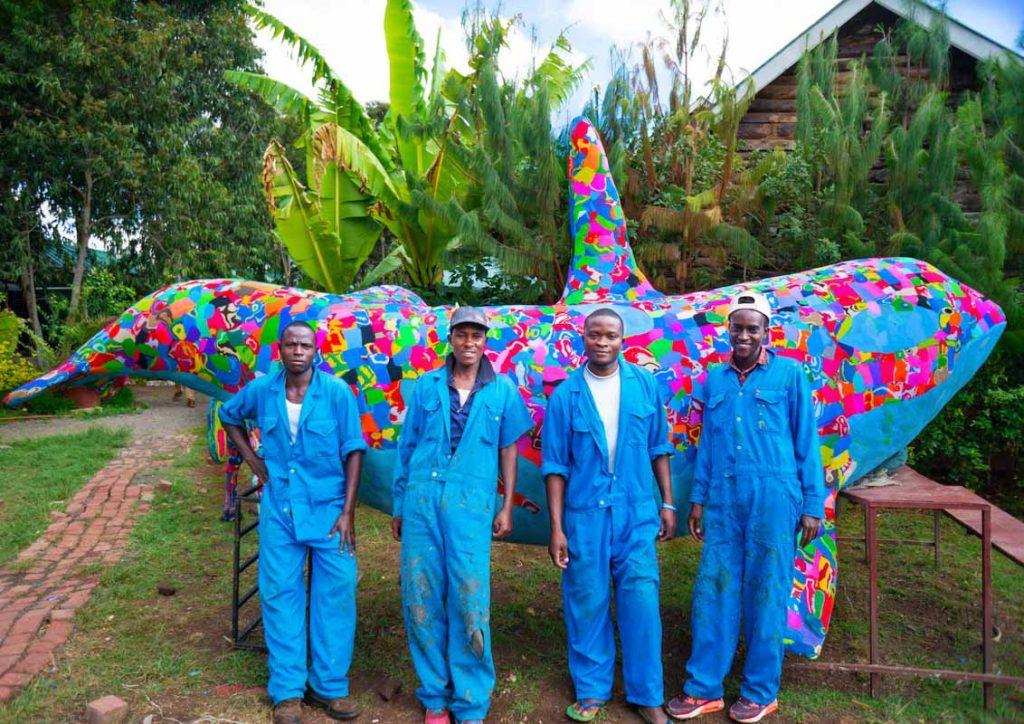 Kenyan artists turn flip-flops into creative animal models at Ocean Sole